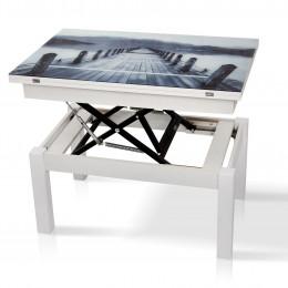 Стол трансформер Дельта со стеклом