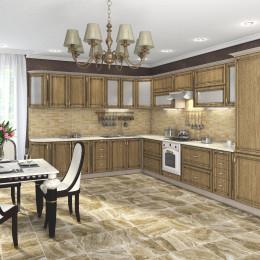 Кухня Платинум карпатская ель с коричневой патиной