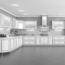 Кухня Платинум белая структура в серебре