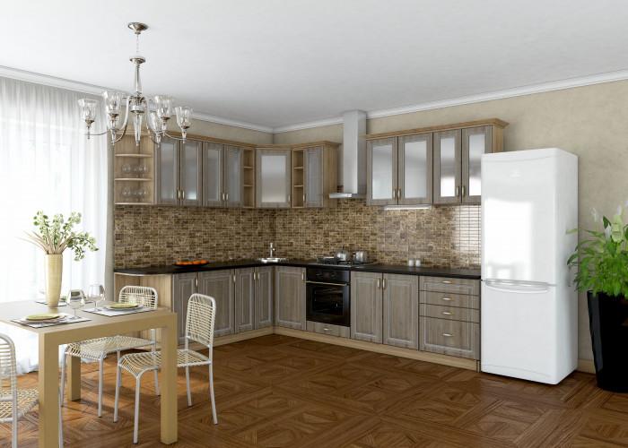 Кухня Платинум cонома темная с белой патиной Фото