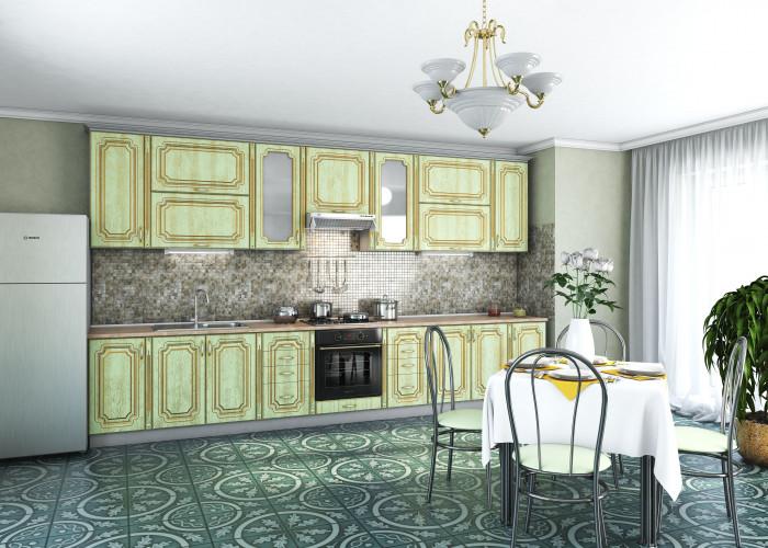Кухня Платинум патина радиал 38 с золотой патиной Фото