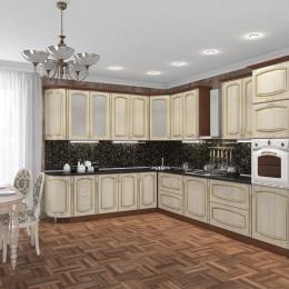 Кухня Платинум ясень голд с золотой патиной