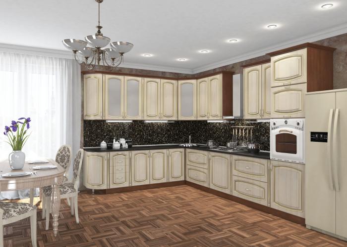 Кухня Платинум ясень голд с золотой патиной Фото