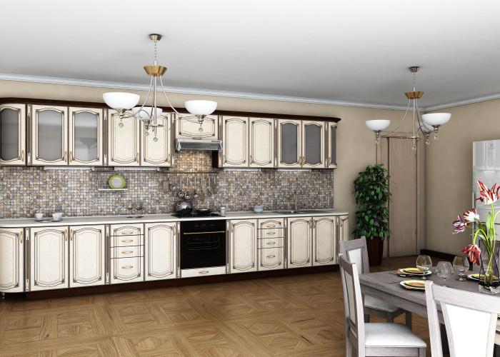 Кухня Платинум ясень беж с коричневой патиной Фото
