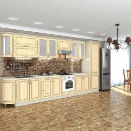 Кухня Платинум дуб беленый с золотой патиной