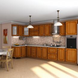 Кухня Платинум вишня форема с коричневой патиной