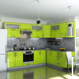 Кухня Гламур лайм металик