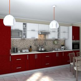 Кухня Гламур белый металлик