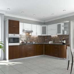 Кухня Квадрис белое дерево / кедр люкс