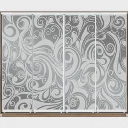 Образцы художественного матирования на 4 двери для шкафа-купе